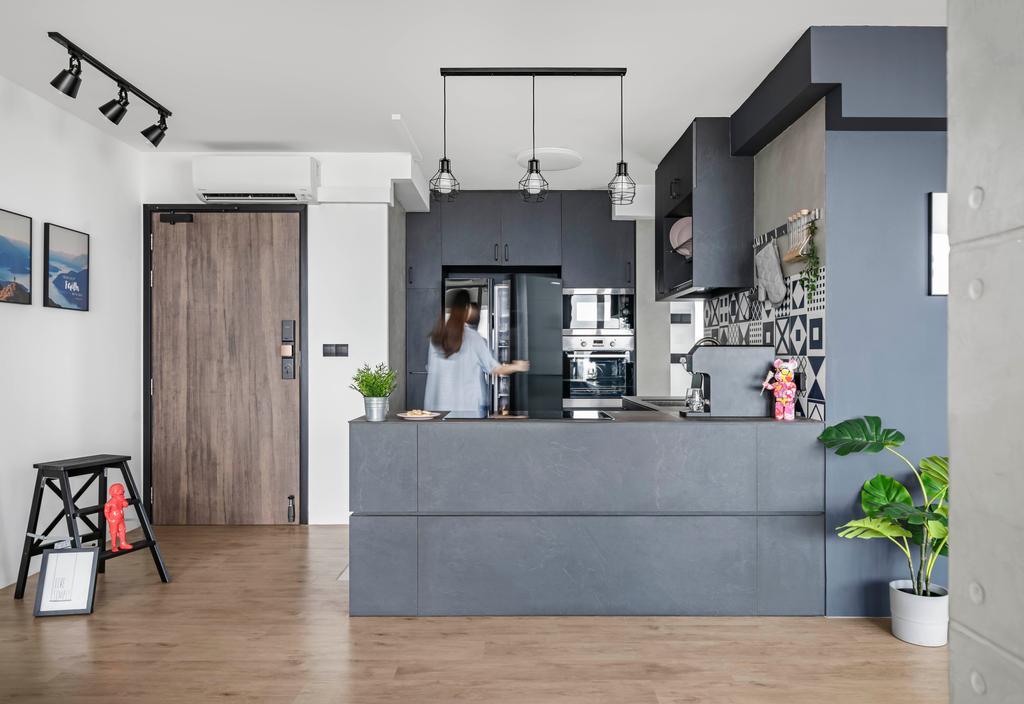 Contemporary, HDB, Kitchen, Bishan Street 24, Interior Designer, Ethereall, Dry Kitchen, Open Concept, Open Kitchen