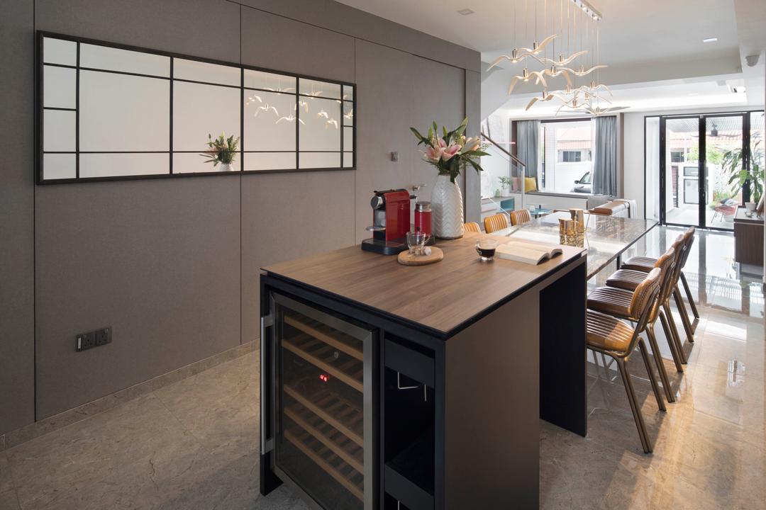 Lor Melayu, The Design Abode, Contemporary, Kitchen, Landed, Wine Cabinet, Wine Cellar, Wine, Kitchen Island, Bar