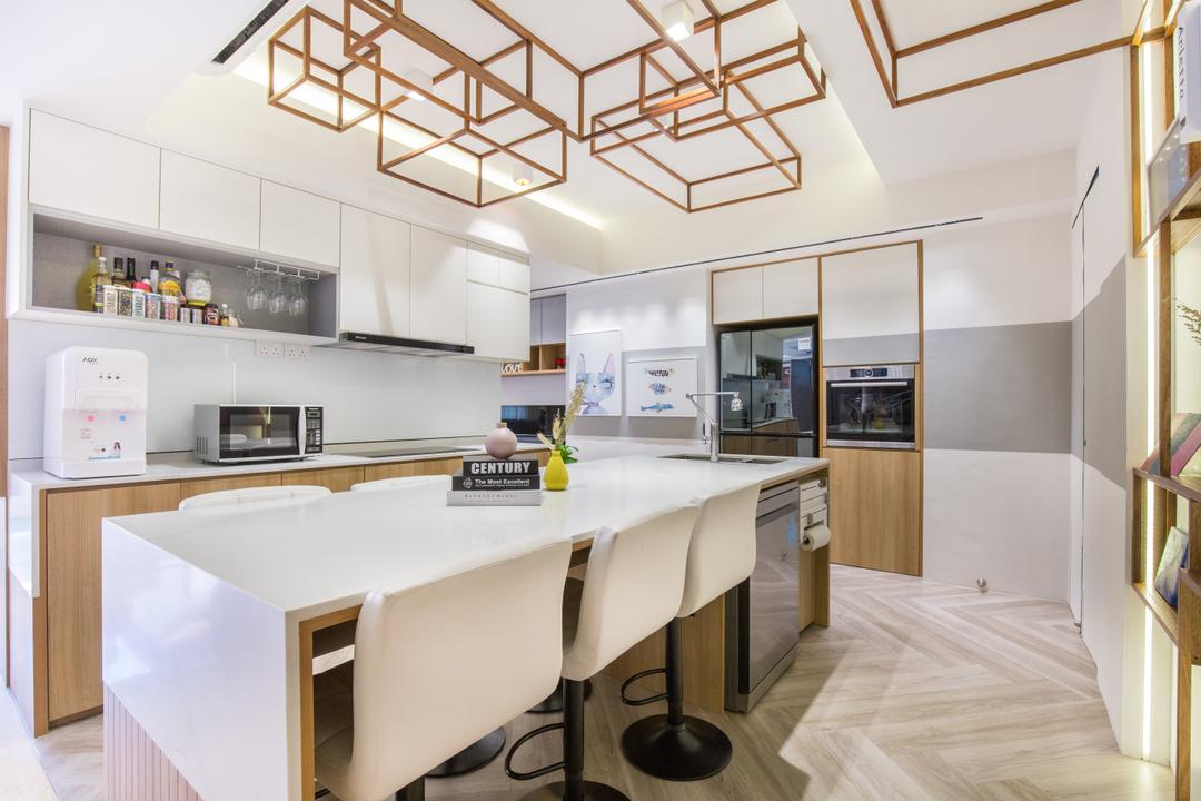 Nature Mansions, Lifestyle + Interiors, Contemporary, Kitchen, Condo, Kitchen Island, Ceiling Feature, Wine Rack, Dishwasher
