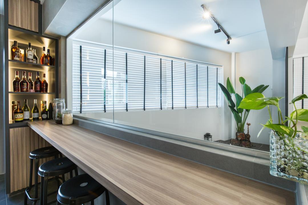 Kang Ching Road, SHE Interior, Contemporary, Modern, Kitchen, HDB, Bar Counter, Bar, Wine