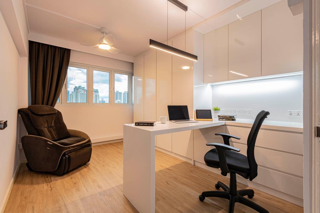 Minimalistic, HDB, Study, Ah Hood Road, Interior Designer, Posh Living Interior Design
