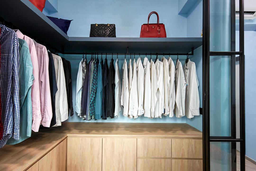 Hillview Green, MET Interior, Scandinavian, Bedroom, Condo, Wardrobe, Open Wardrobe, Pole System, Walk In Wardrobe