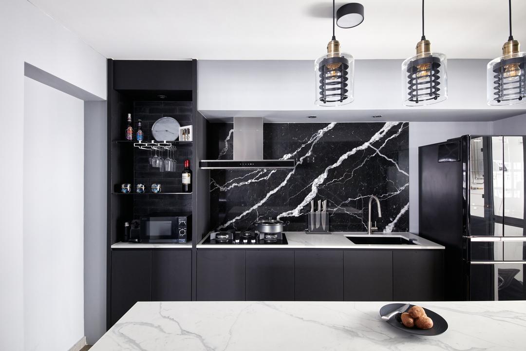 Yishun Avenue 4, Free Space Intent, Modern, Kitchen, HDB, Marble, Backsplash, Black, Open Kitchen