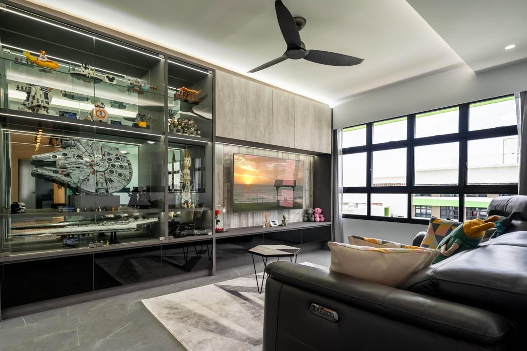 Tampines Street 61, Design 4 Space, Contemporary, Living Room, HDB, Collectibles, Figurines, Display, Star Wars