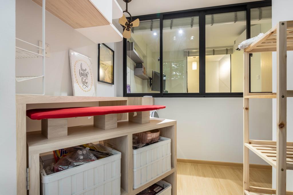 Scandinavian, Condo, Kitchen, Hillview 128, Interior Designer, Design 4 Space, Yard, Service Yard, Laundry