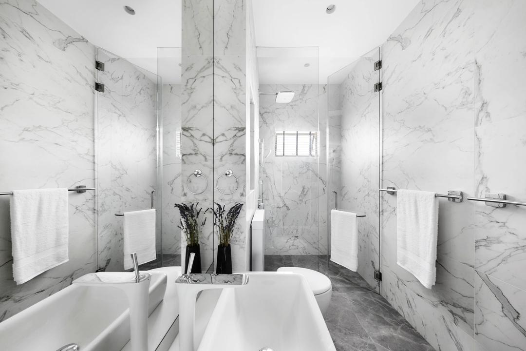 The Tropic Gardens, akiHAUS, Scandinavian, Bathroom, Condo, Marble