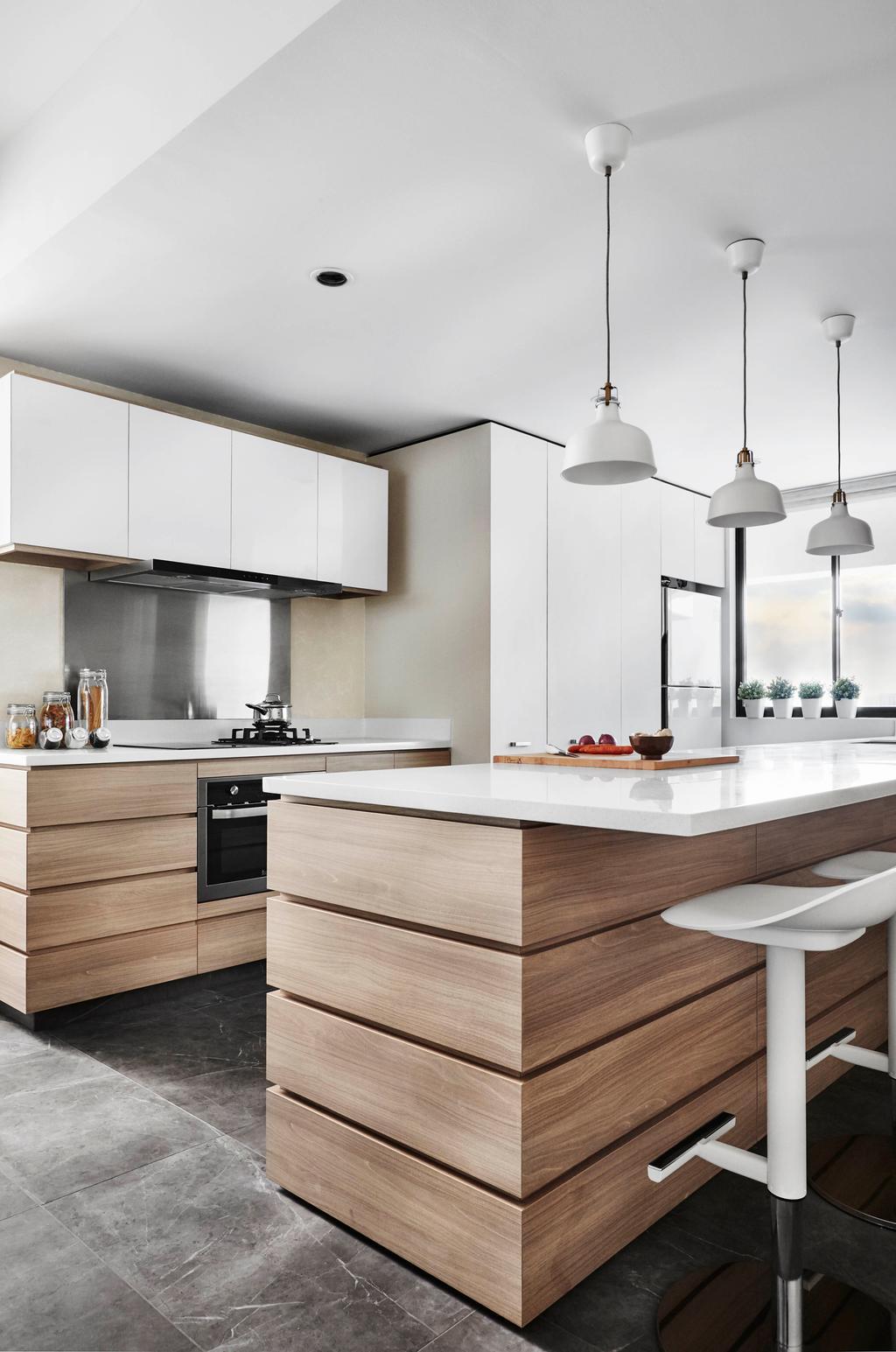 Contemporary, Condo, Kitchen, Chuan Park, Interior Designer, akiHAUS, Kitchen Island