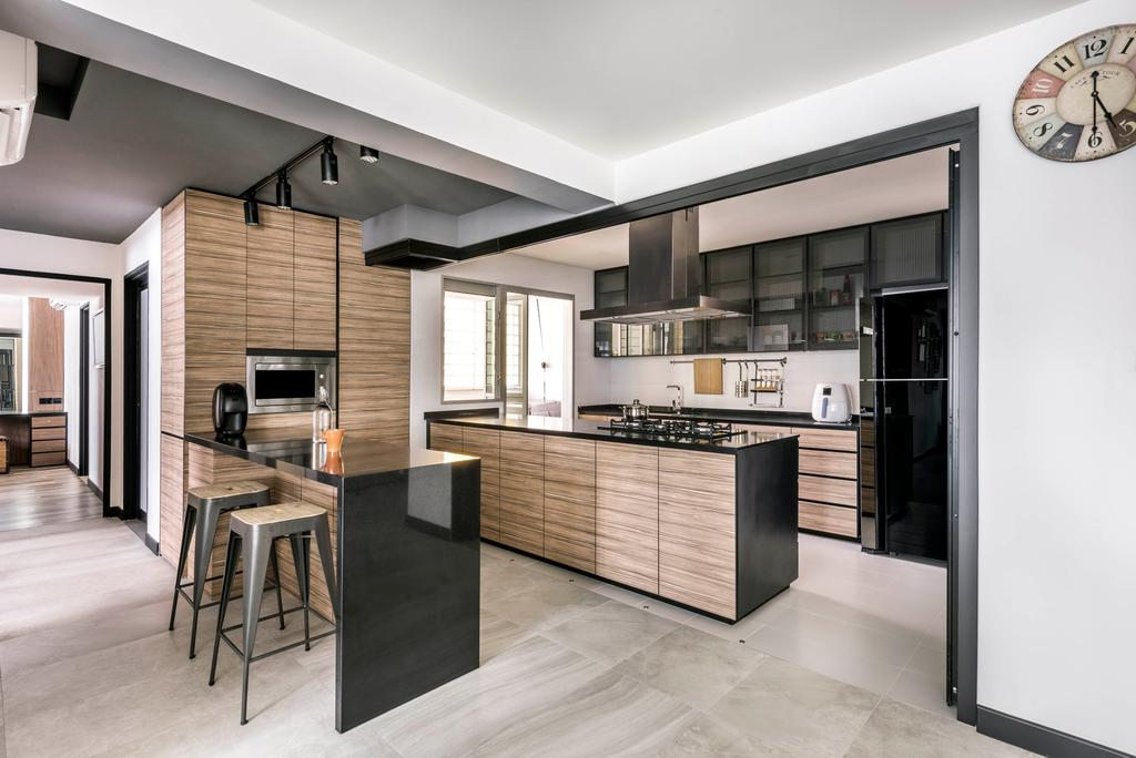 Contemporary, HDB, Kitchen, Rivervale Crescent, Interior Designer, akiHAUS