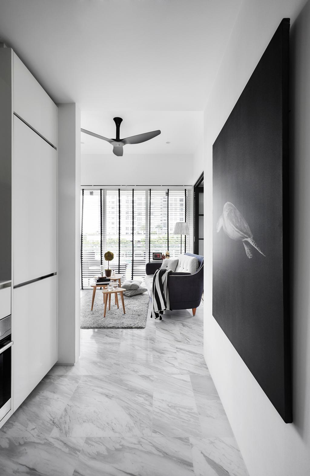 Contemporary, Condo, Living Room, The Sorrento, Interior Designer, akiHAUS, Corridor, Hallway, Entrance