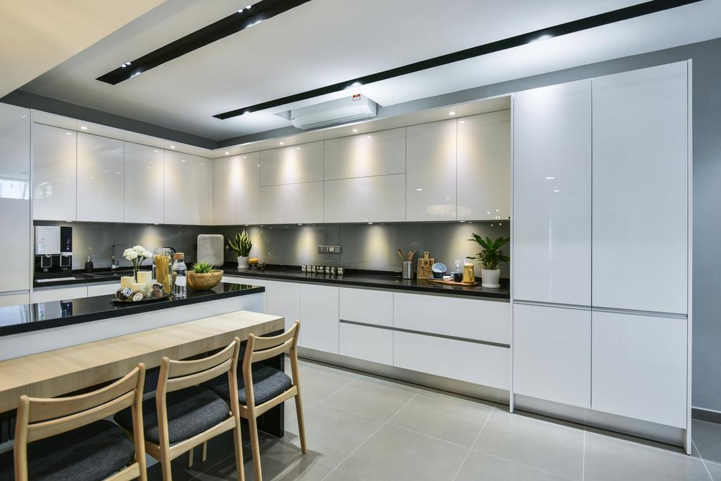 Modern, Landed, Kitchen, Setia Damai, Setia Alam, Interior Designer, Cube Creation Sdn. Bhd., Contemporary