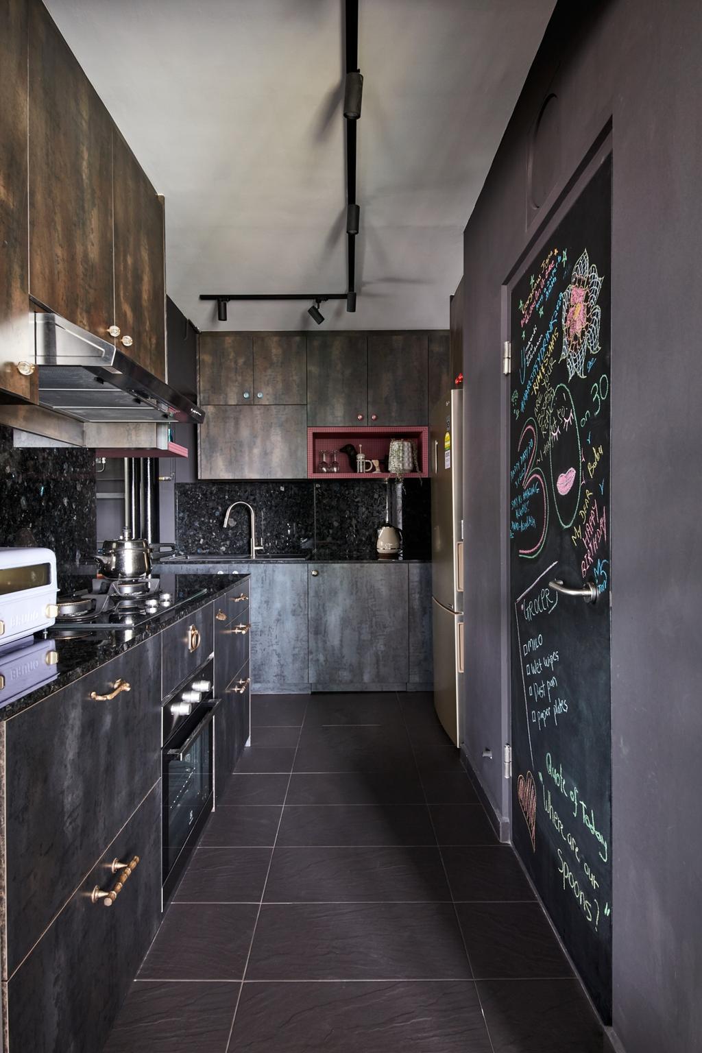 Industrial, HDB, Kitchen, Clementi Avenue 3, Interior Designer, Free Space Intent