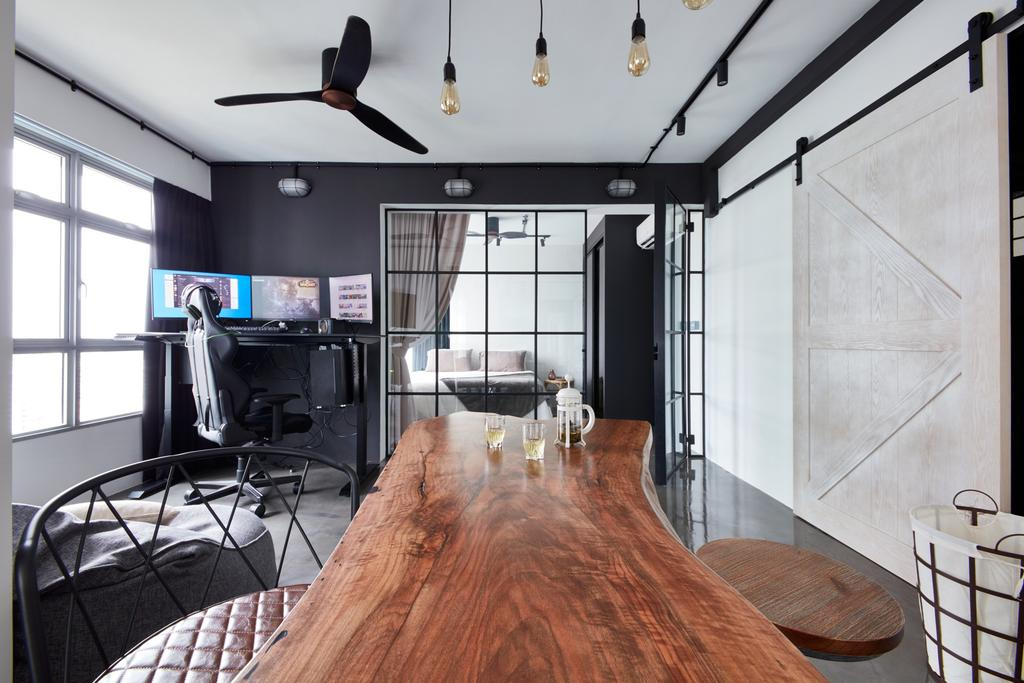 Industrial, HDB, Study, Clementi Avenue 3, Interior Designer, Free Space Intent