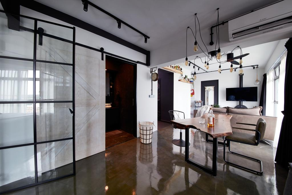 Industrial, HDB, Dining Room, Clementi Avenue 3, Interior Designer, Free Space Intent