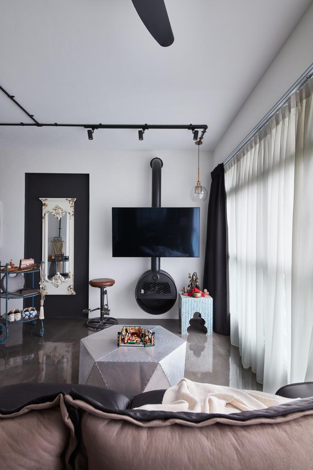 Industrial, HDB, Living Room, Clementi Avenue 3, Interior Designer, Free Space Intent