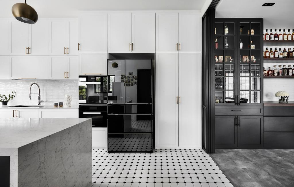 Contemporary, Landed, Kitchen, Sennett Avenue, Interior Designer, Third Avenue Studio, Transitional, Monochrome, Graphic Tiles, Black And White