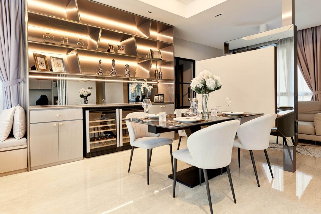 Avalon, Mr Shopper Studio, Contemporary, Dining Room, Condo, Wine, Wine Cabinet, Wine Chiller