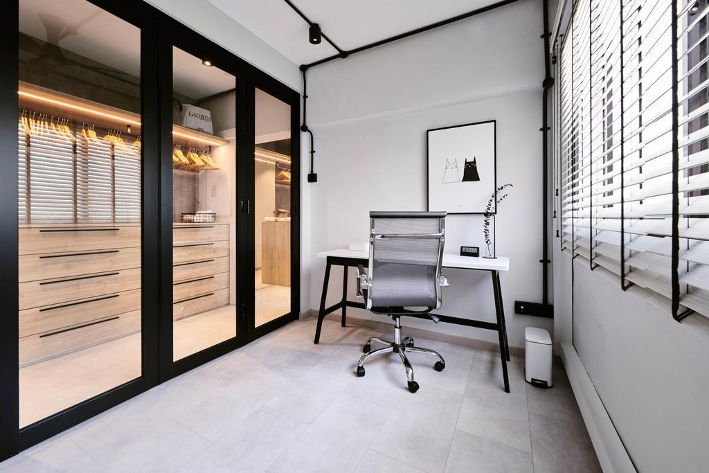 Industrial, HDB, Study, Jurong East Street 21, Interior Designer, Mr Shopper Studio, Scandinavian