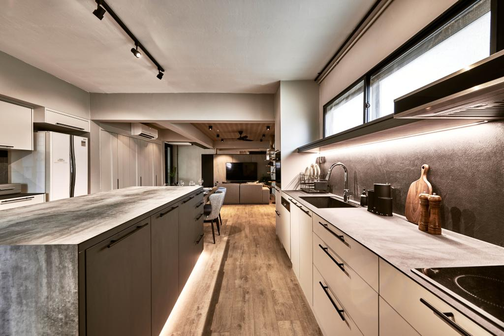Industrial, HDB, Kitchen, Jurong East Street 21, Interior Designer, Mr Shopper Studio, Scandinavian