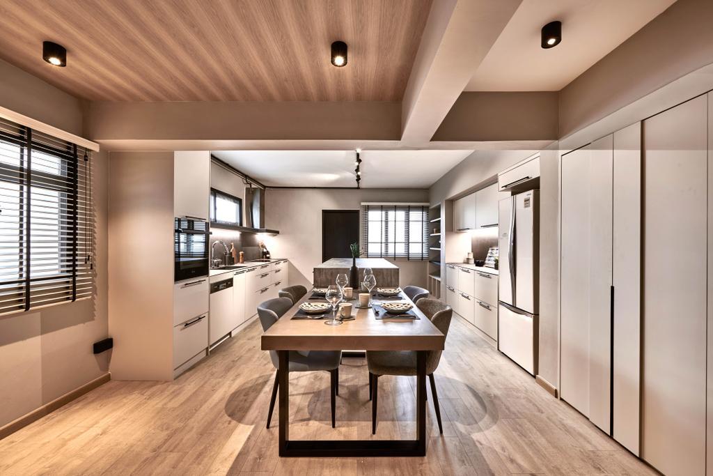 Industrial, HDB, Dining Room, Jurong East Street 21, Interior Designer, Mr Shopper Studio, Scandinavian