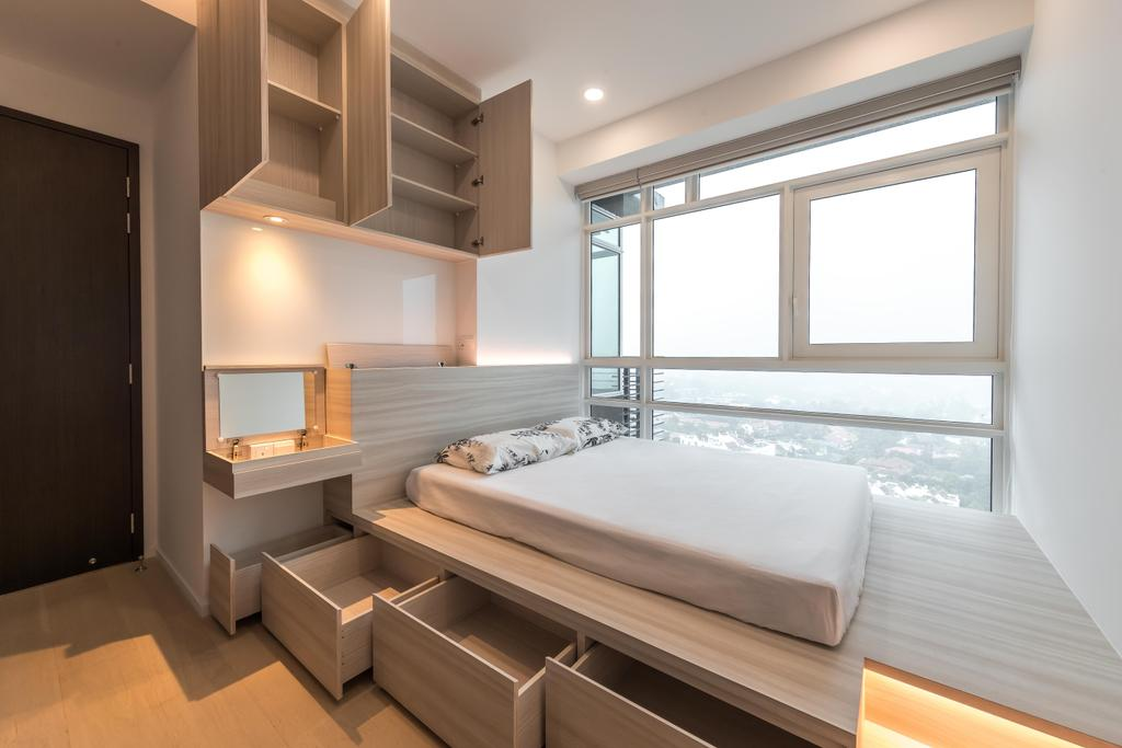 Minimalistic, Condo, Bedroom, Principal Garden, Interior Designer, Swiss Interior Design, Platform Bed, Platform, Storage
