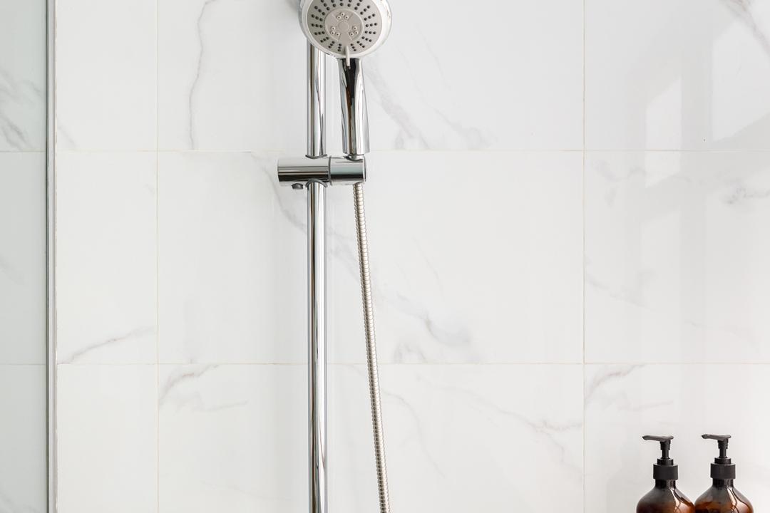 The Calrose, Anhans Interior Design, Contemporary, Bathroom, Condo, Marble, White