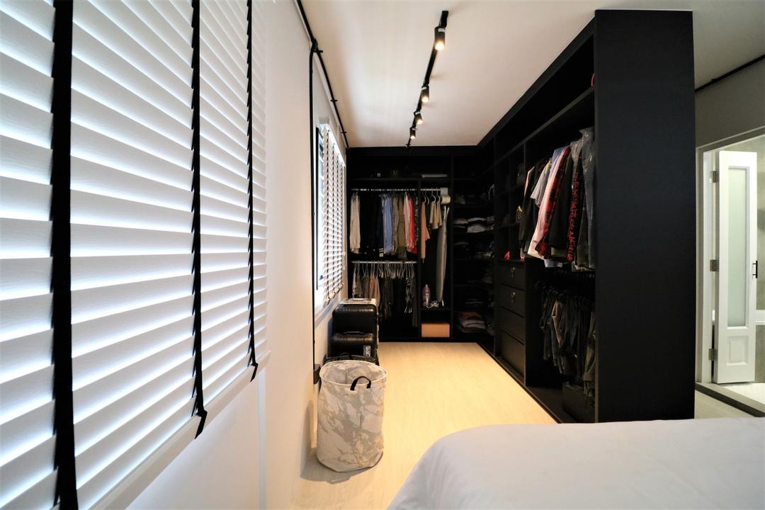 Pasir Ris Drive 4, E+e Design & Build, Industrial, Contemporary, Bedroom, HDB, Wardrobe, Walk In Wardrobe, Dressing Room, Dresser