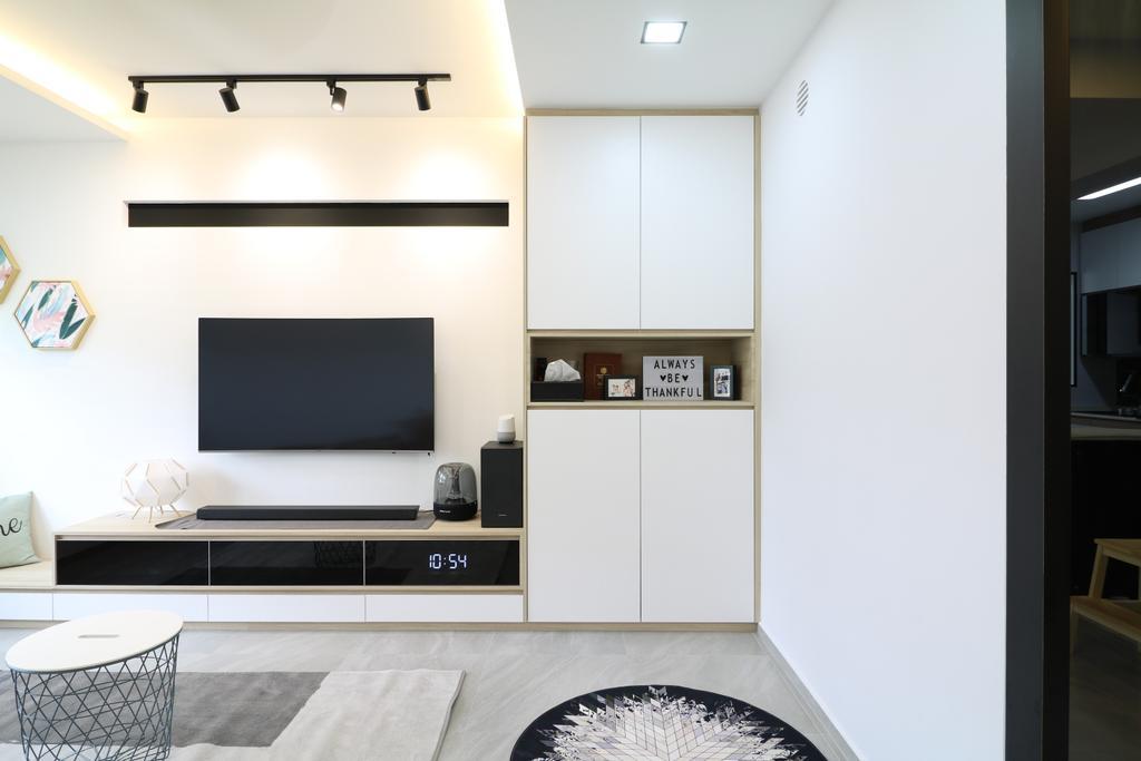 Scandinavian, HDB, Living Room, Tampines Street 61, Interior Designer, E+e Design & Build, Contemporary