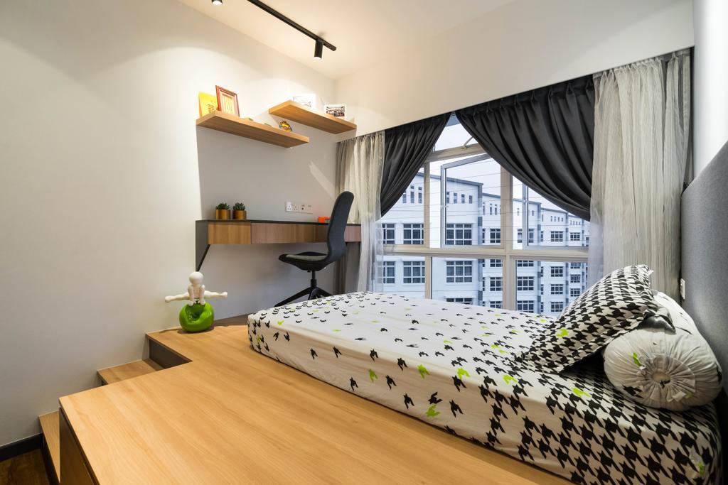 Scandinavian, HDB, Bedroom, Compassvale Crescent, Interior Designer, Fineline Design, Minimalistic