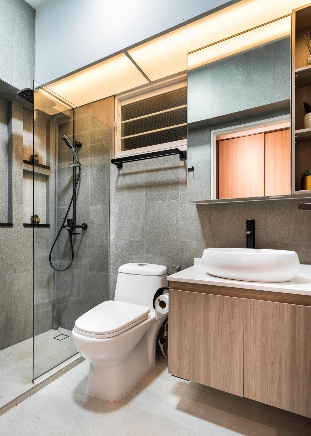 Scandinavian, HDB, Bathroom, Compassvale Crescent, Interior Designer, Fineline Design, Minimalistic