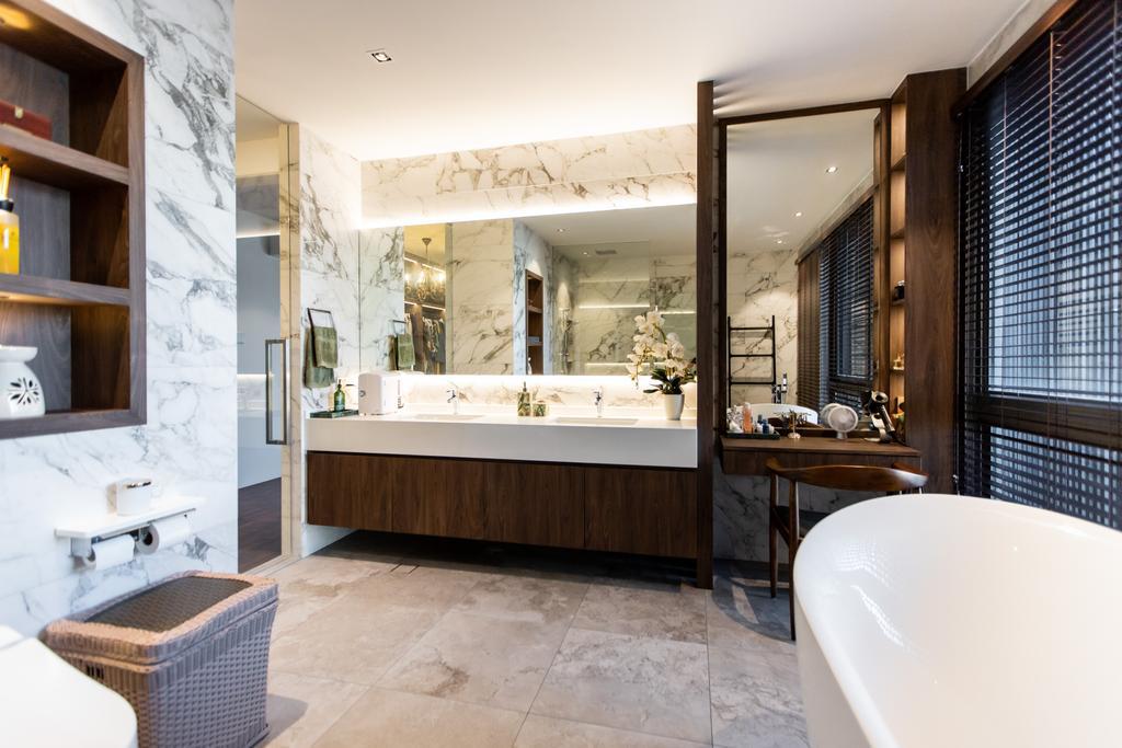 Modern, Landed, Bathroom, Jalan Bangau, Interior Designer, Forefront Interior, Contemporary