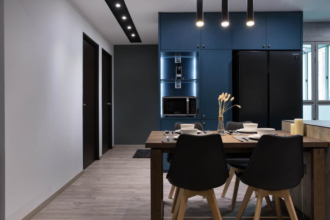 Punggol Road, Inizio Atelier, Scandinavian, Industrial, Dining Room, HDB, Hallway, Corridor, Open Concept