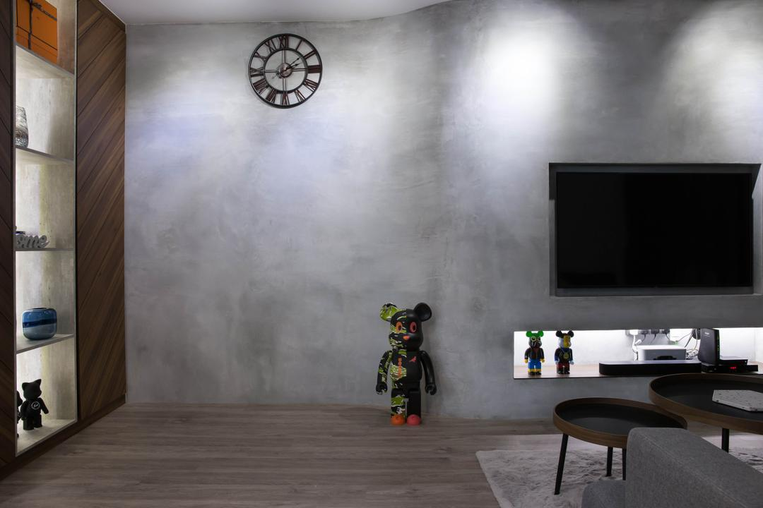 Punggol Road, Inizio Atelier, Scandinavian, Industrial, Living Room, HDB, Feature Wall, Cement Wall