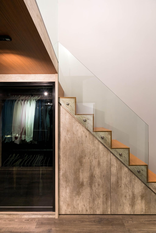 Contemporary, Condo, Living Room, Riverbank @ Fernvale, Interior Designer, Fineline Design, Industrial, Wardrobe, Under Stairs, Stairs, Storage