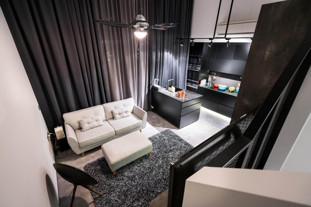 Contemporary, Condo, Living Room, Riverbank @ Fernvale, Interior Designer, Fineline Design, Industrial, High Ceiling