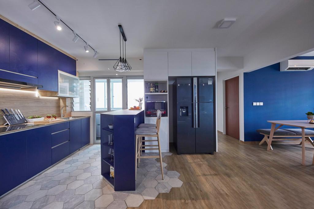 Scandinavian, HDB, Kitchen, Yishun Street 43, Interior Designer, i-Chapter, Open Kitchen, Open Layout, Blue, Kitchen Island, Bar Island
