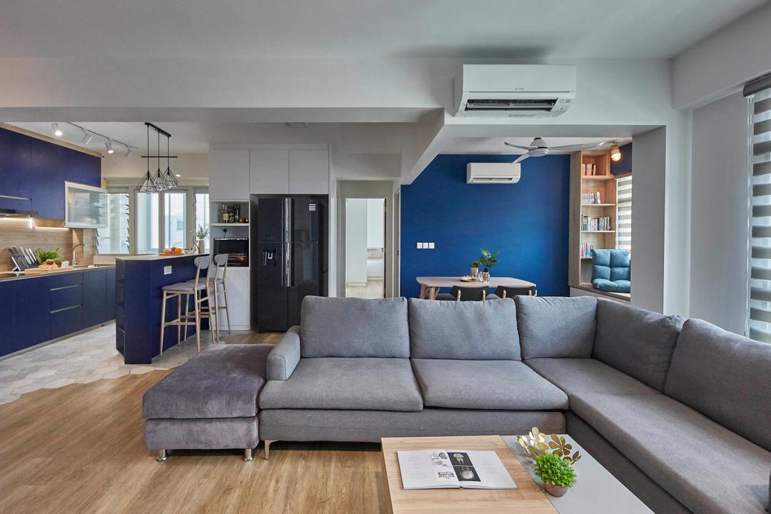 Yishun Street 43, i-Chapter, Scandinavian, Living Room, HDB, Blue, Open Concept, Flexi Space, Open Layout