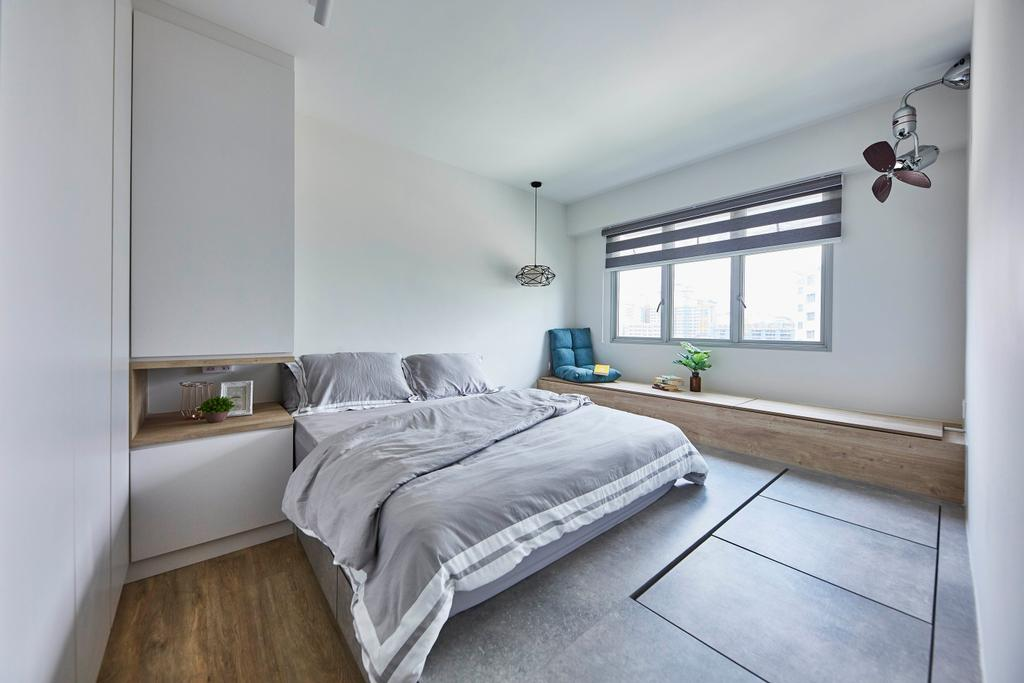 Scandinavian, HDB, Bedroom, Yishun Street 43, Interior Designer, i-Chapter, Platform Bed, Platform Storage, Floor Storage
