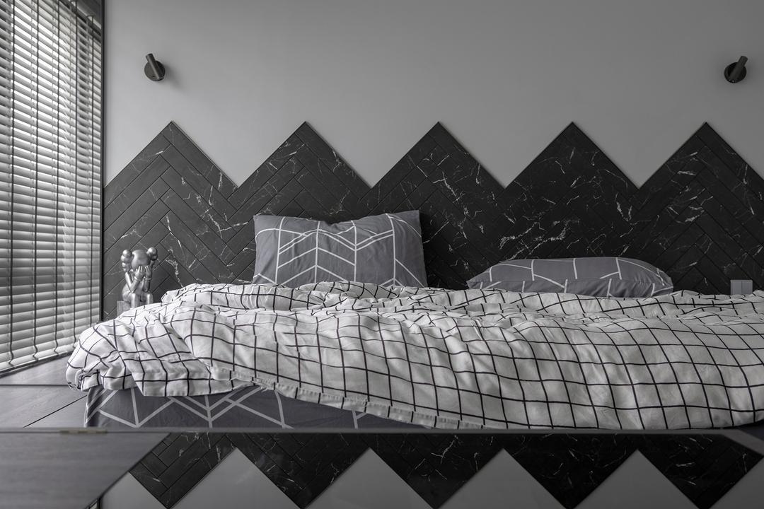 d'Nest, Van Hus Interior Design, Contemporary, Industrial, Bedroom, Condo, Feature Wall, Monochrome, Grey