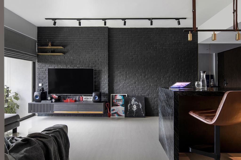 Contemporary, Condo, Living Room, d'Nest, Interior Designer, Van Hus Interior Design, Industrial