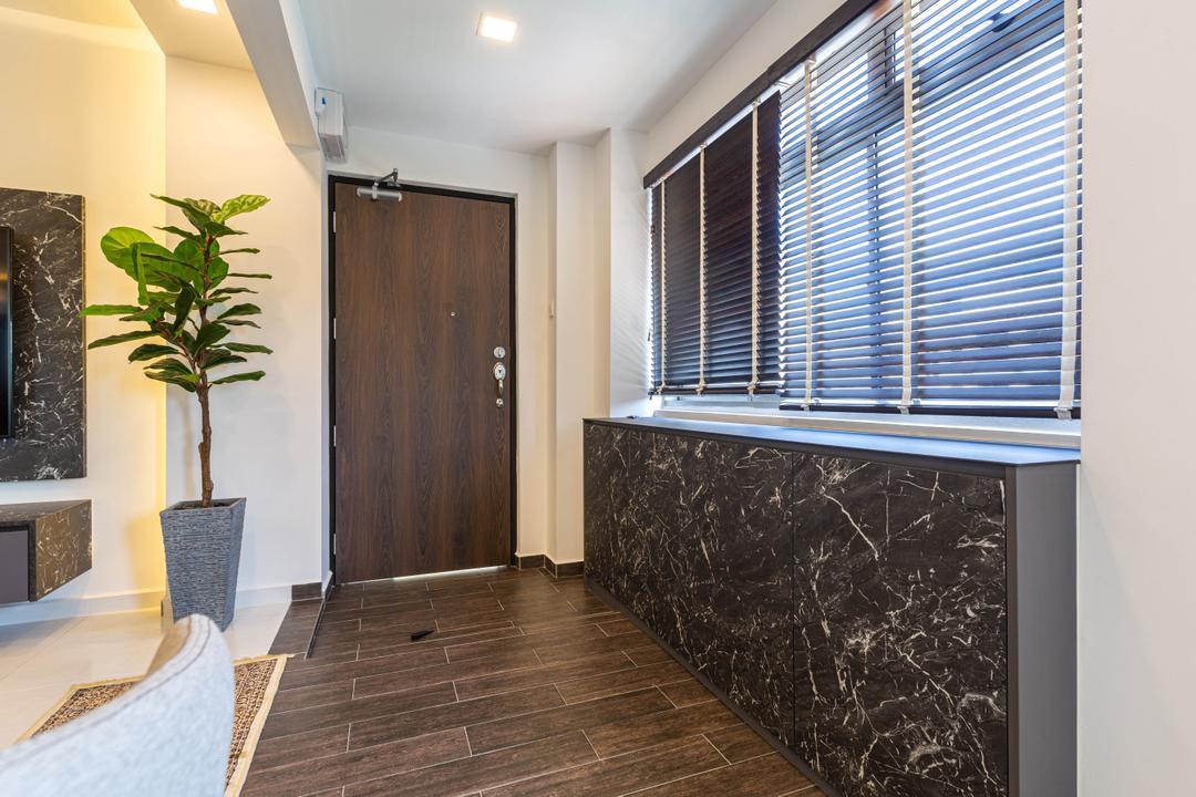Pasir Ris Street 21, Kingsley Interior, Contemporary, Living Room, HDB, Entrance, Foyer, Hallway, Shoe Cabinet