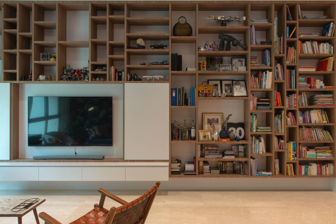 Avalon, Forefront Interior, Eclectic, Living Room, Condo, Bookcase, Feature Wall, Bookshelves, Books, Storage