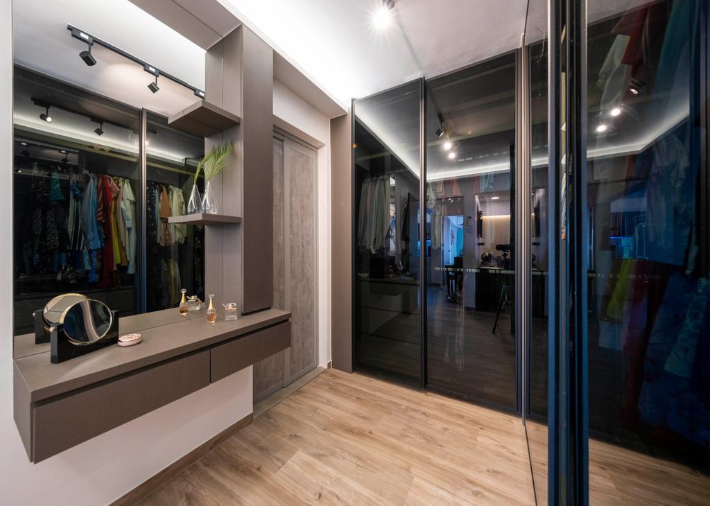 Modern, HDB, Bedroom, Ang Mo Kio Avenue 2, Interior Designer, Starry Homestead, Wardrobe, Walk In Wardrobe, Vanity