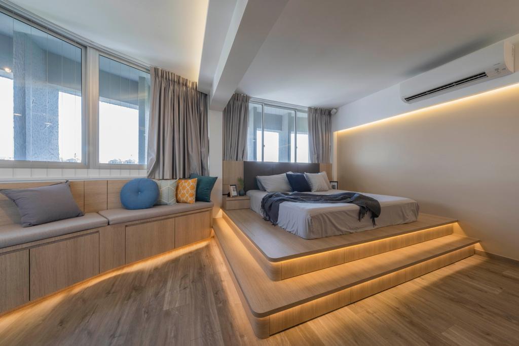 Modern, HDB, Bedroom, Ang Mo Kio Avenue 2, Interior Designer, Starry Homestead, Platform Bed, Platform, Window Seat