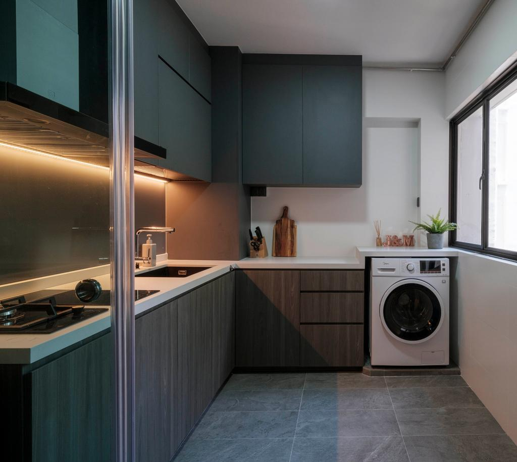 Modern, HDB, Kitchen, Cantonment Close, Interior Designer, Starry Homestead, Yard, Service Yard, Laundry