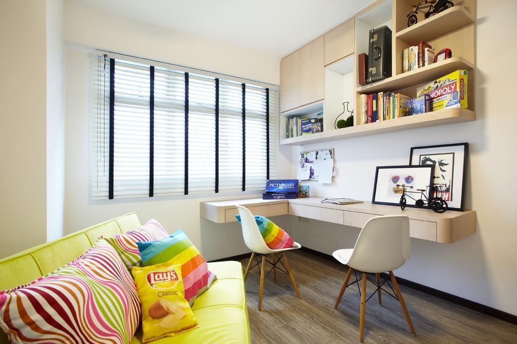 Eclectic, HDB, Study, Rivervale, Interior Designer, IB Interior