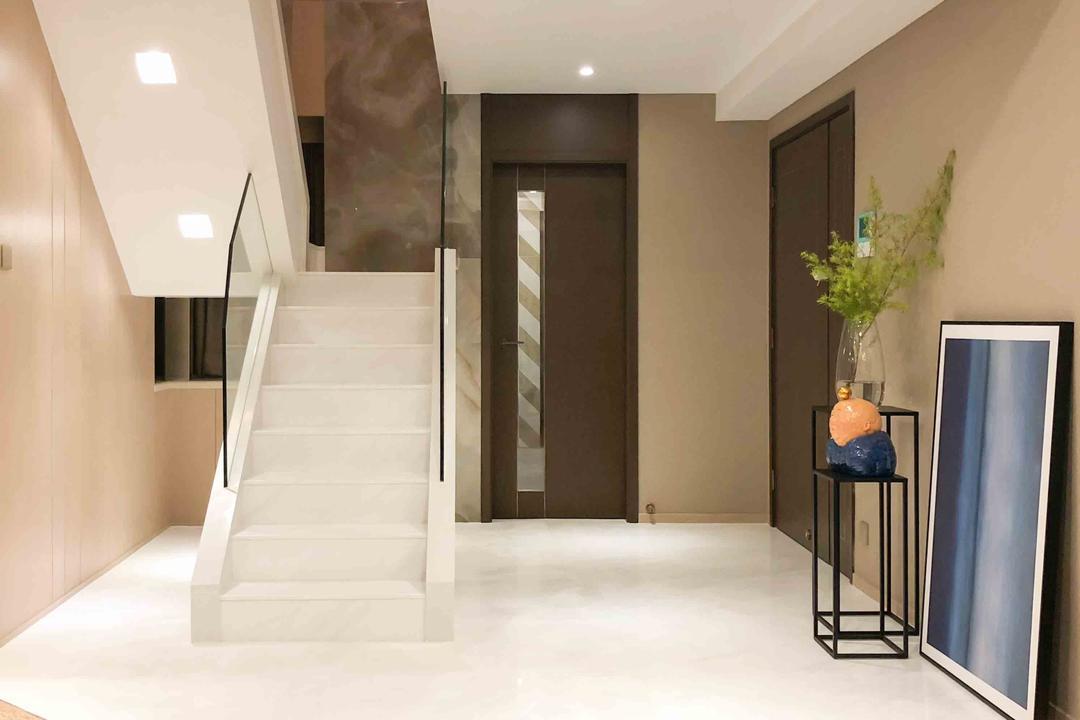 Homantin Street, B.R.G. Interior Design, 當代, 客廳, 私家樓, Entrance, Staircase