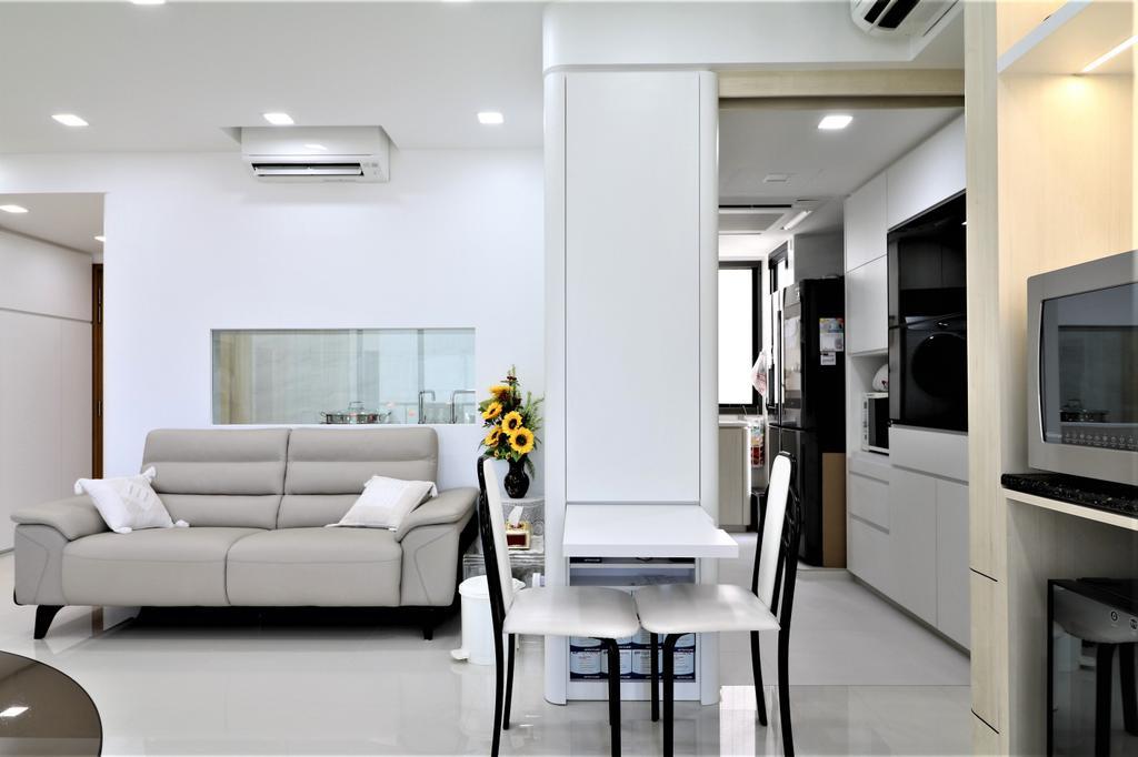 HDB, Living Room, Waterbank @ Dakota, Interior Designer, E+e Design & Build