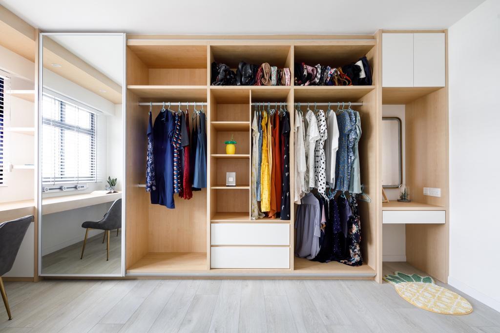 Scandinavian, HDB, Study, Sengkang West Road, Interior Designer, The Local INN.terior 新家室, Walk In Wardrobe, Open Wardrobe, Wardrobe