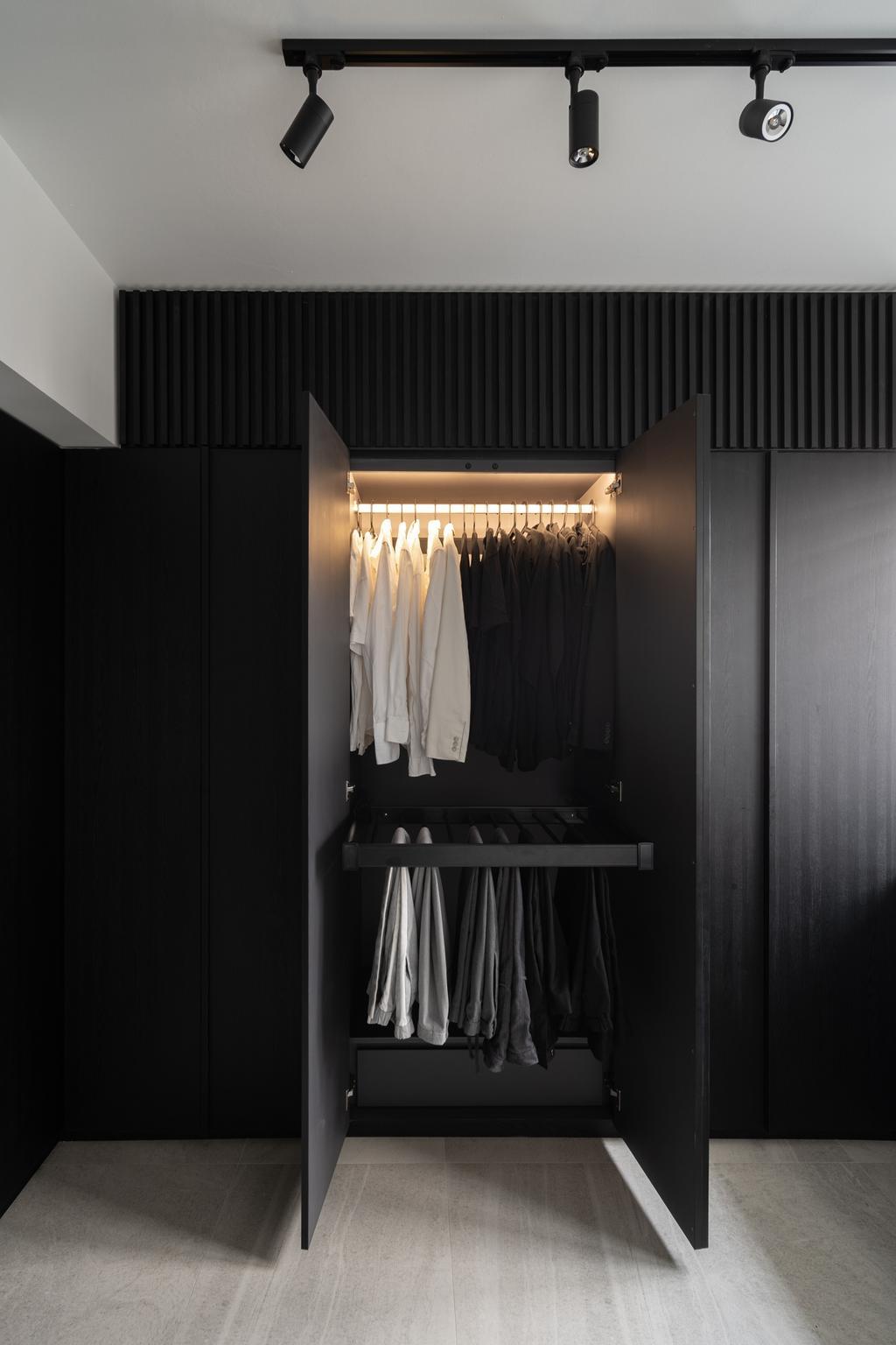 Industrial, HDB, Bedroom, Depot Road, Interior Designer, Arche Interior, Minimalistic, Wardrobe, Black