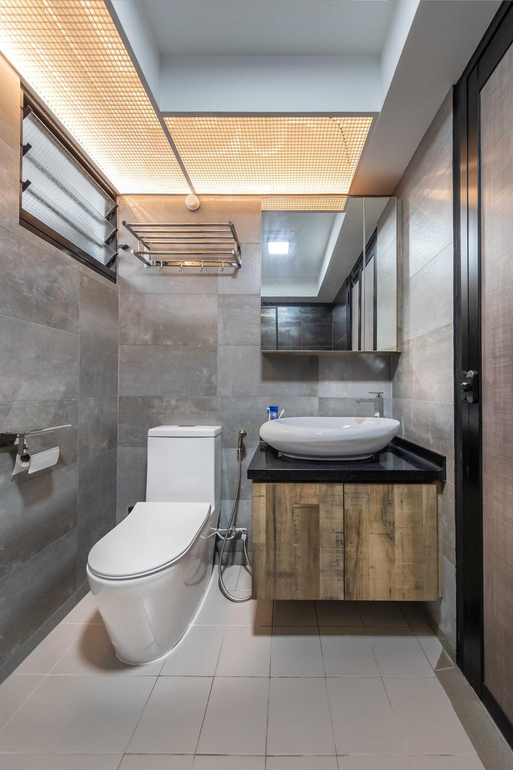 Scandinavian, HDB, Bathroom, Yishun Avenue 6, Interior Designer, Swiss Interior Design, Industrial
